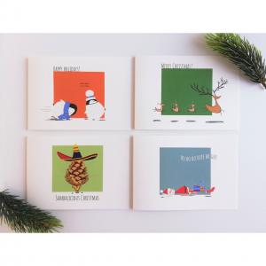 Set van 4 kerstkaarten