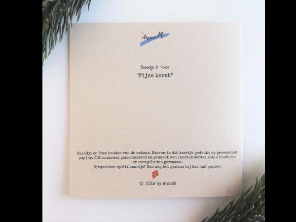 Wenskaart Blaadje & Poes - fijne kerst achterkant