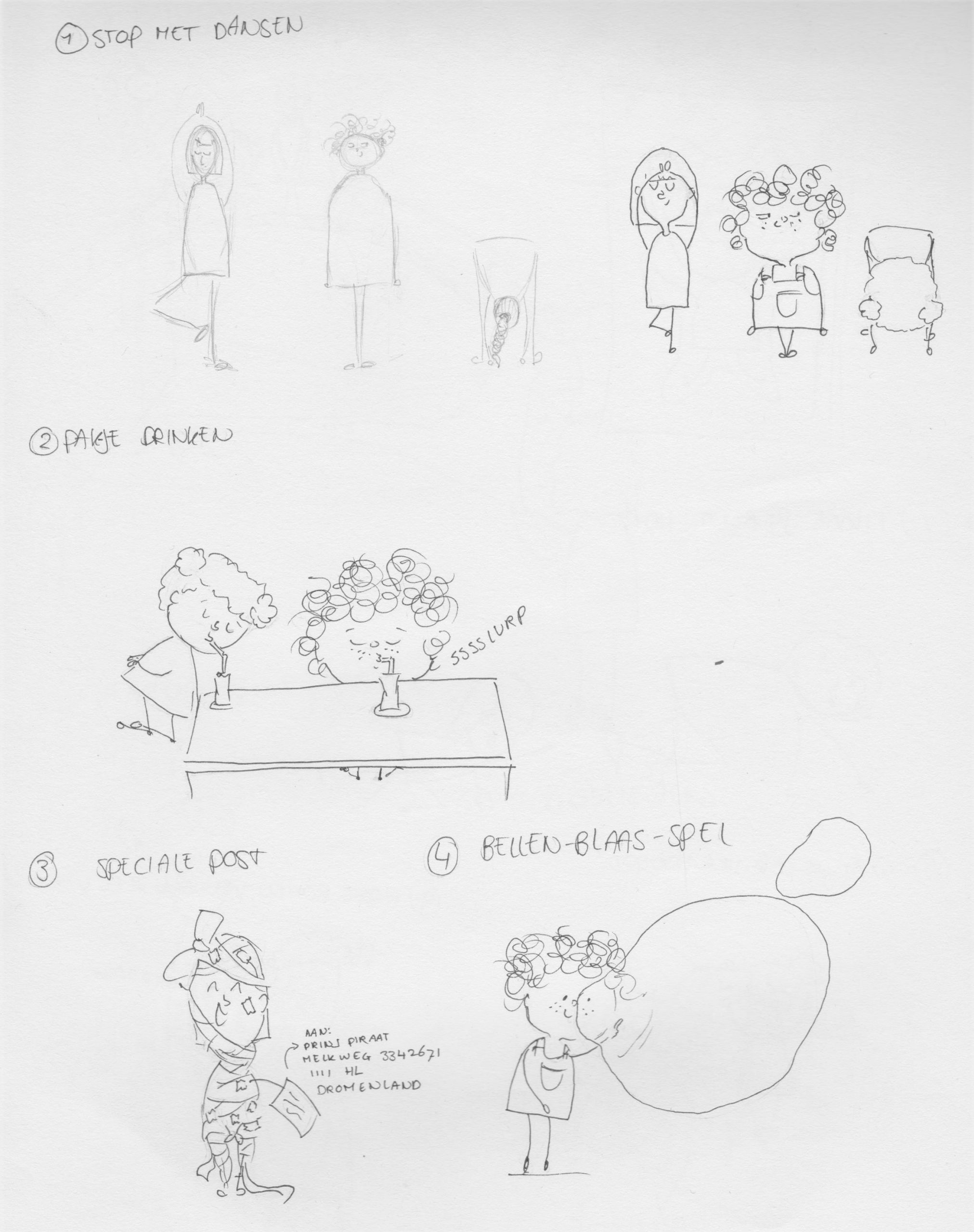 Illustraties e-book rouw bij kinderen ruwe schets