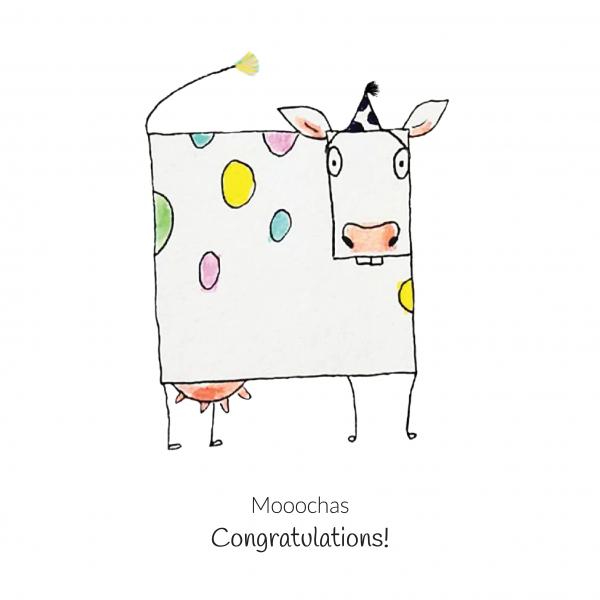 wenskaart geometrische koe - Mooochas congratulations!