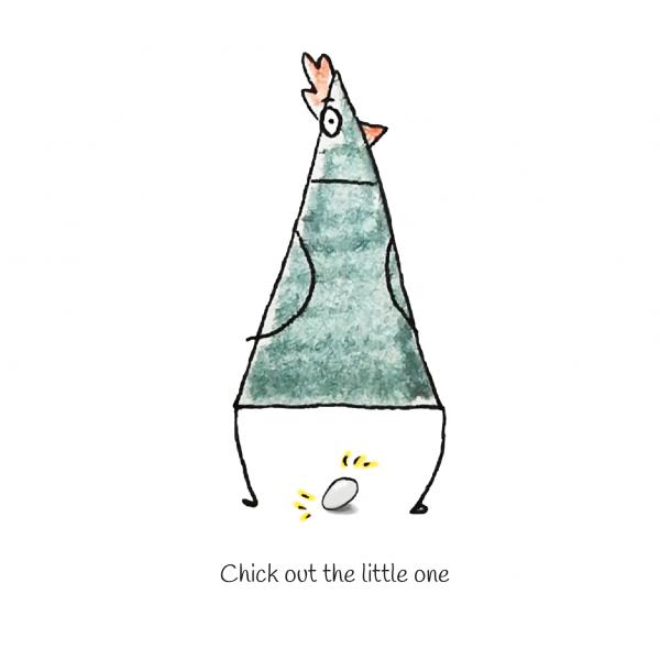 wenskaart geometrische kip - Chick out the little one