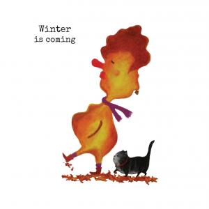 Wenskaart Blaadje & Poes - winter is coming