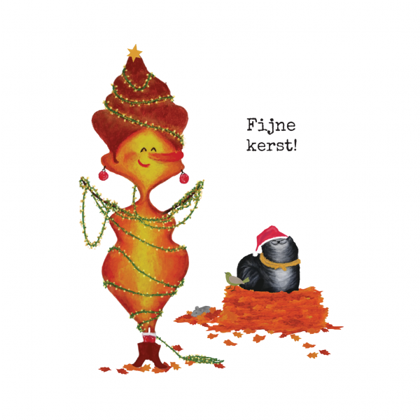 Wenskaart Blaadje & Poes - Fijne Kerst!