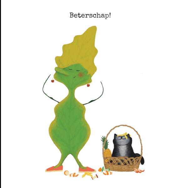 wenskaart Blaadje & Poes - Beterschap!